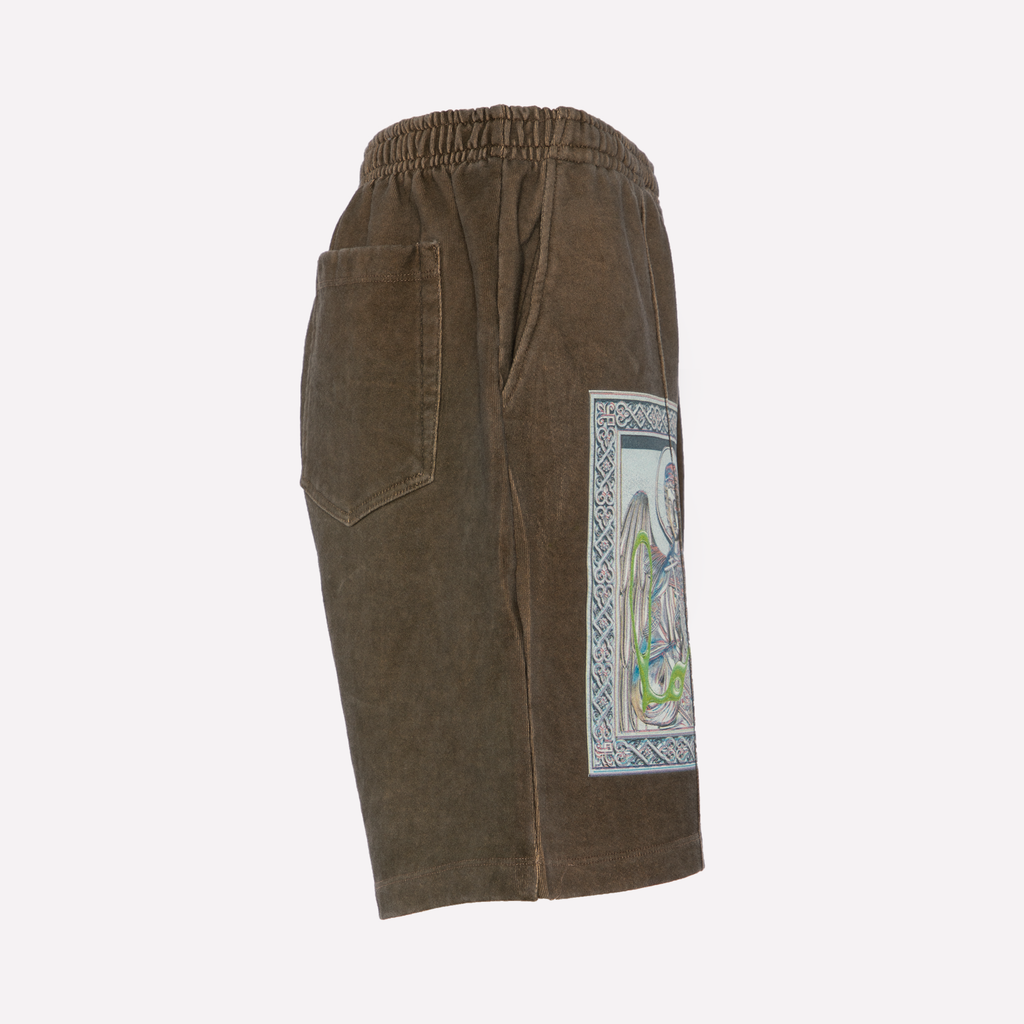 Brown Terry Graphic Shorts