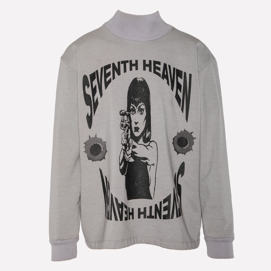 Grey Terry Graphic Turtleneck