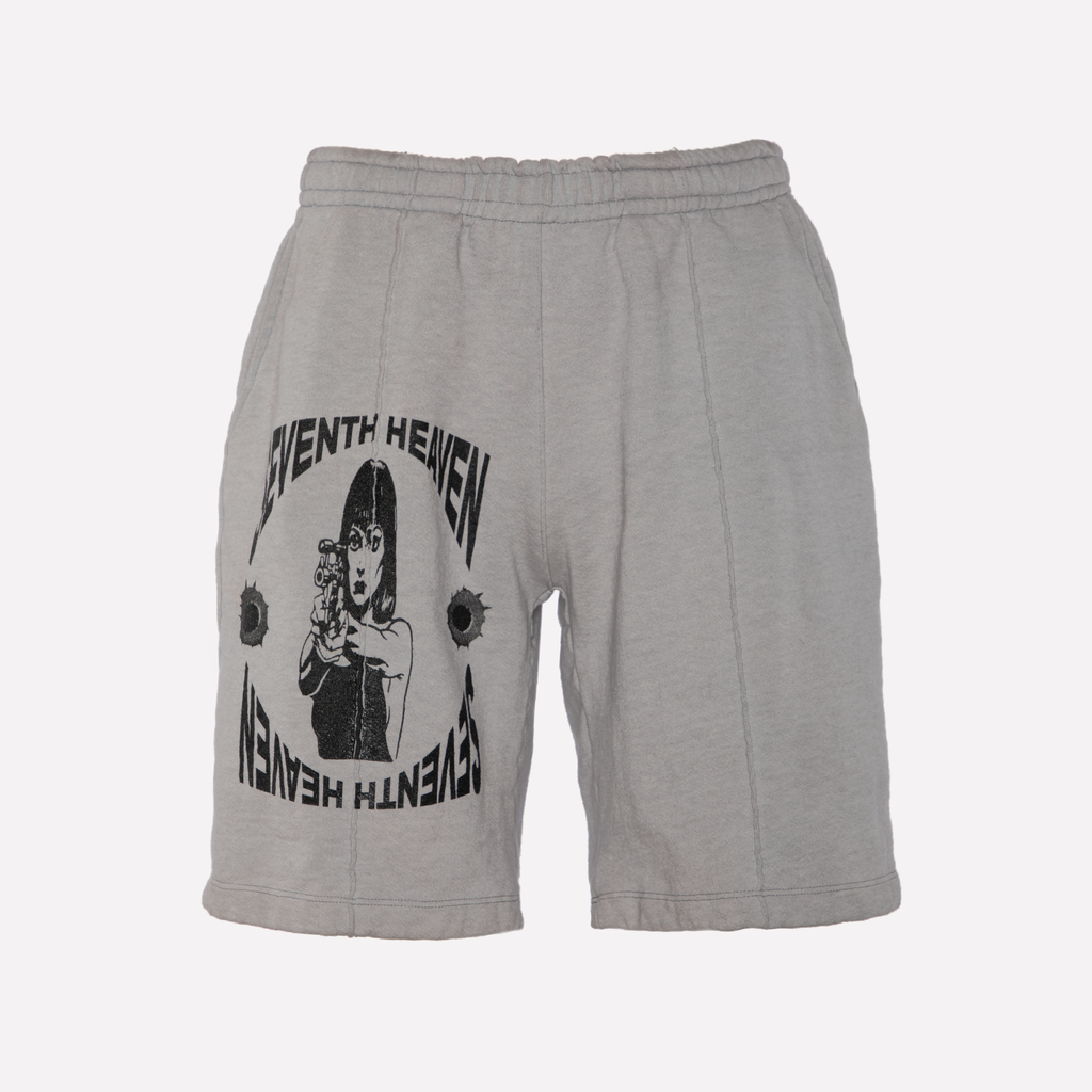 Grey Terry Graphic Shorts