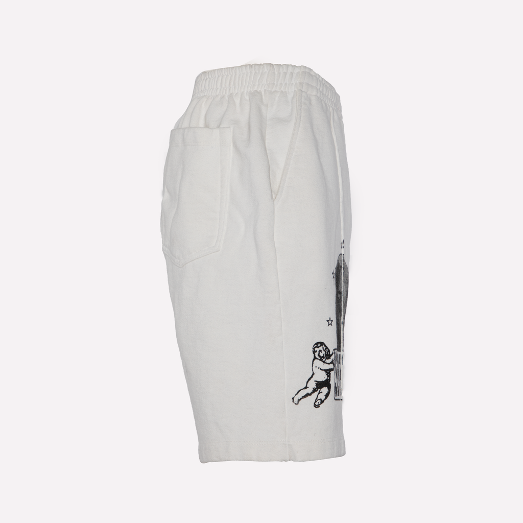 White Terry Graphic Shorts