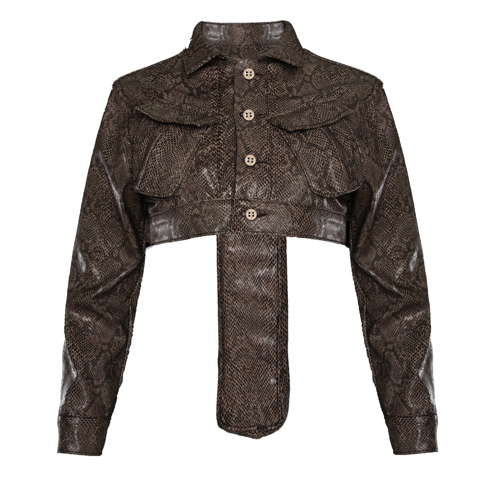 Brown Women's Faux Leather Snakeskin Perforated Cross Cropped Cargo Jacket