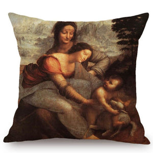Leonardo Da Vinci Inspired Cushion Covers The Virgin And Child With St. Anne Cushion Cover
