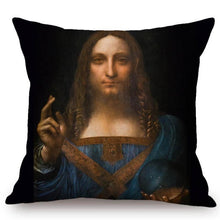 Load image into Gallery viewer, Leonardo Da Vinci Inspired Cushion Covers Salvator Mundi Cushion Cover