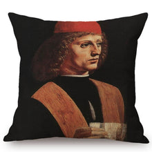 Load image into Gallery viewer, Leonardo Da Vinci Inspired Cushion Covers Portrait Of A Musician Cushion Cover