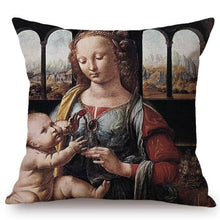 Load image into Gallery viewer, Leonardo Da Vinci Inspired Cushion Covers Madonna Of The Carnation Cushion Cover