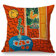 Load image into Gallery viewer, Henri Matisse Inspired Cushion Covers Red Interior Still On A Blue Table Cushion Cover
