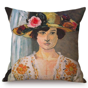 Henri Matisse Inspired Cushion Covers Woman With A Flowered Hat Cushion Cover