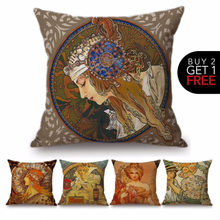 Load image into Gallery viewer, Alphonse Mucha Inspired Cushion Covers