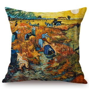Vincent Van Gogh Inspired Cushion Covers 44X44Cm No Filling / The Red Vineyard Cushion Cover