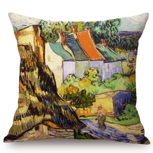 Vincent Van Gogh Inspired Cushion Covers 44X44Cm No Filling / Houses In Auvers Cushion Cover