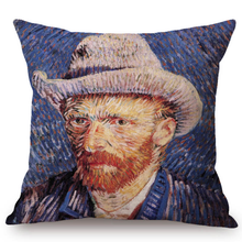Load image into Gallery viewer, Vincent Van Gogh Inspired Cushion Covers 44X44Cm No Filling / Self-Portrait With Grey Felt Hat