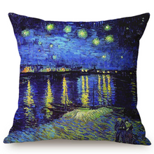 Load image into Gallery viewer, Vincent Van Gogh Inspired Cushion Covers 44X44Cm No Filling / Starry Night Over The Rhône Cushion