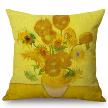Load image into Gallery viewer, Vincent Van Gogh Inspired Cushion Covers 44X44Cm No Filling / Sunflowers Cushion Cover