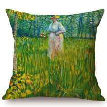 Load image into Gallery viewer, Vincent Van Gogh Inspired Cushion Covers 44X44Cm No Filling / A Woman Walking In A Garden Cushion