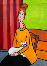 Load image into Gallery viewer, Jeanne Hebuterne and Cat painting by Cynthia Castejón