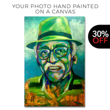 Load image into Gallery viewer, Your portrait photo hand-painted in acrylics on canvas