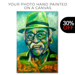 Your portrait photo hand-painted in acrylics on canvas