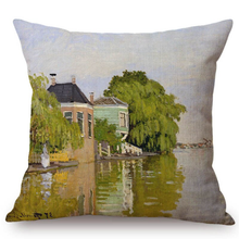Load image into Gallery viewer, Claude Monet Inspired Cushion Covers Houses On The Achterzaan Cushion Cover