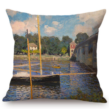 Load image into Gallery viewer, Claude Monet Inspired Cushion Covers Bridge At Argenteuil Cushion Cover