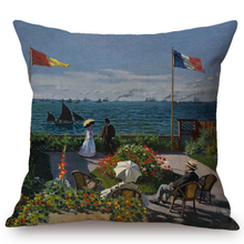 Load image into Gallery viewer, Claude Monet Inspired Cushion Covers Terrace In Sainte-Adresse Cushion Cover