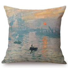 Load image into Gallery viewer, Claude Monet Inspired Cushion Covers Impression Sunrise Cushion Cover