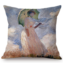 Load image into Gallery viewer, Claude Monet Inspired Cushion Covers Madame With Umbrella Cushion Cover
