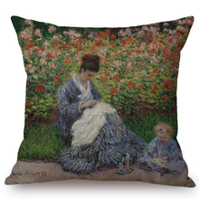 Load image into Gallery viewer, Claude Monet Inspired Cushion Covers Madame And Child Cushion Cover