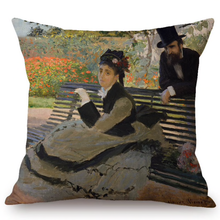 Load image into Gallery viewer, Claude Monet Inspired Cushion Covers Camille On A Garden Bench Cushion Cover