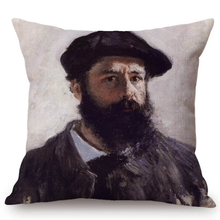 Load image into Gallery viewer, Claude Monet Inspired Cushion Covers Self-Portrait With A Beret Cushion Cover