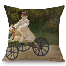 Load image into Gallery viewer, Claude Monet Inspired Cushion Covers Jean On His Hobby Horse Cushion Cover