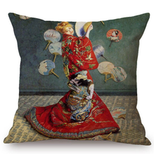 Load image into Gallery viewer, Claude Monet Inspired Cushion Covers Madame In Japanese Costume Cushion Cover