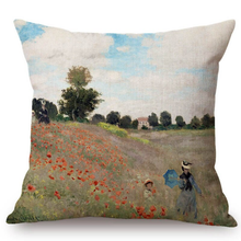 Load image into Gallery viewer, Claude Monet Inspired Cushion Covers Poppy Field In Argenteuil Cushion Cover