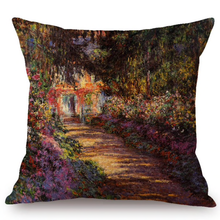 Load image into Gallery viewer, Claude Monet Inspired Cushion Covers A Pathway In Monets Garden Giverny Cushion Cover
