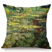 Load image into Gallery viewer, Claude Monet Inspired Cushion Covers The Nympheas Basin Cushion Cover