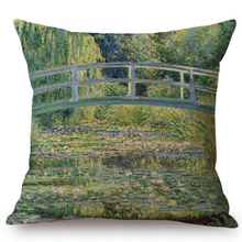 Load image into Gallery viewer, Claude Monet Inspired Cushion Covers Water Lilies And Japanese Bridge Cushion Cover