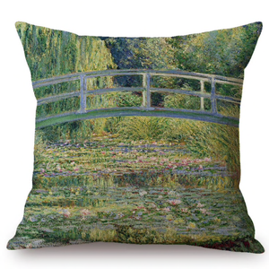 Claude Monet Inspired Cushion Covers Water Lilies And Japanese Bridge Cushion Cover