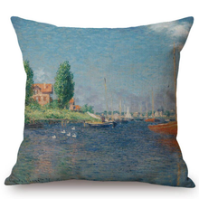 Load image into Gallery viewer, Claude Monet Inspired Cushion Covers Red Boats At Argenteuil Cushion Cover