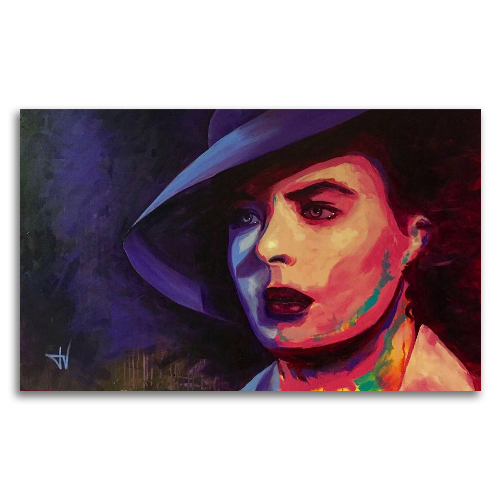 Ingrid Bergman painting by JV Fiori