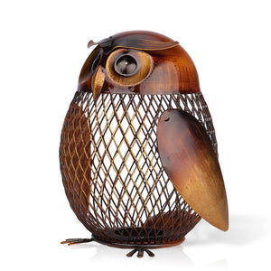 Metal Owl-Shaped Piggy Bank