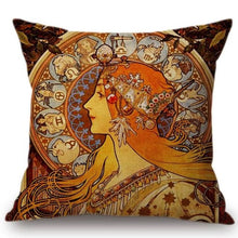 Load image into Gallery viewer, Alphonse Mucha Inspired Cushion Covers Zodiac Cushion Cover