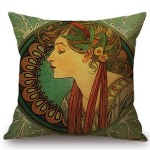 Alphonse Mucha Inspired Cushion Covers Lady In Green Cushion Cover