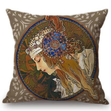 Load image into Gallery viewer, Alphonse Mucha Inspired Cushion Covers Byzantine Head The Blonde Cushion Cover