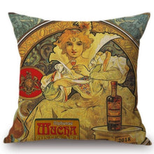 Load image into Gallery viewer, Alphonse Mucha Inspired Cushion Covers Fox Land Jamaica Rum Cushion Cover