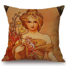 Load image into Gallery viewer, Alphonse Mucha Inspired Cushion Covers The Seasons Spring Cushion Cover
