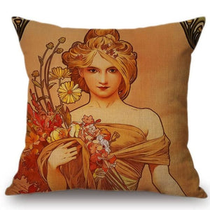 Alphonse Mucha Inspired Cushion Covers The Seasons Spring Cushion Cover