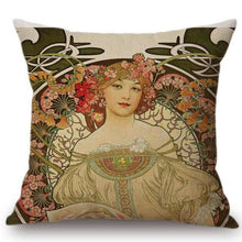 Load image into Gallery viewer, Alphonse Mucha Inspired Cushion Covers Reverie Cushion Cover