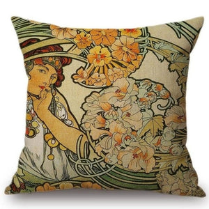 Alphonse Mucha Inspired Cushion Covers Lady And Flowers Cushion Cover