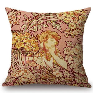 Alphonse Mucha Inspired Cushion Covers Cushion Cover