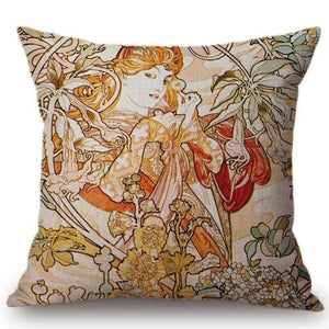 Alphonse Mucha Inspired Cushion Covers Ivy Cushion Cover