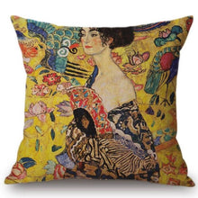 Load image into Gallery viewer, Gustav Klimt Inspired Cushion Covers Lady With Fan Cushion Cover